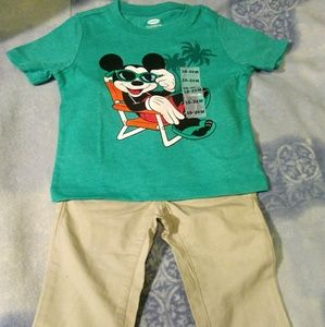 Mickey Mouse Shirt with Tan pants